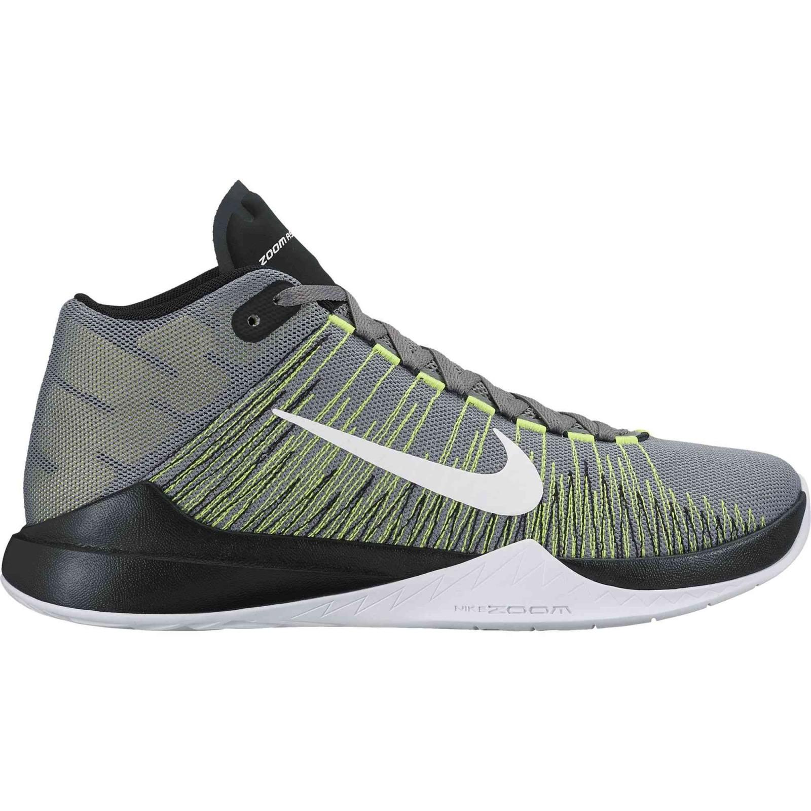 Pánské basketbalové boty Nike Zoom Ascention šedo-zelené  a76257efcb