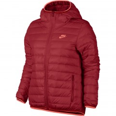 Dámská bunda Nike W NSW DWN FLL JKT HD S UNIVERSITY RED/BRIGHT MANGO