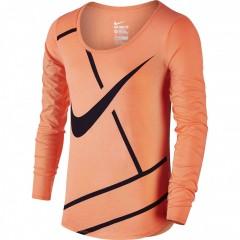 Dámské tričko Nike W PRACTICE COURT LOGO LS TEE M BRIGHT MANGO/PURPLE DYNASTY