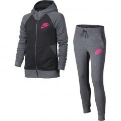 Dětská souprava Nike G NSW TRK SUIT FT XL CARBON HEATHER/ANTHRACITE/HYPE