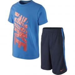 Dětská souprava Nike GFX SET (SS +SHORT) LK L LT PHOTO BLUE/OBSIDIAN