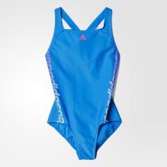 Dětské plavky adidas LIN 1PC G | AJ8387 | Modrá | 164
