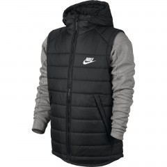 Pánská bunda Nike M NSW AV15 SYN HD JKT L BLACK/DK GREY HEATHER/WHITE