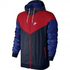Pánská bunda Nike M NSW WINDRUNNER L OBSIDIAN/UNIVERSITY RED/WHITE