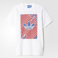 Pánské tričko adidas Originals STRIPETREFOIL T | AJ7117 | Bílá | XL