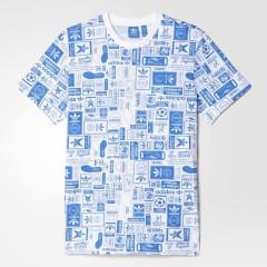 Pánské tričko adidas Originals STRT GRP AOP T | AZ1137 | Bílá, Modrá | XL