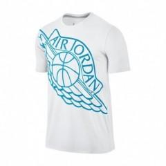Pánské tričko Jordan AIR WINGSPAN TEE 2XL WHITE/BLUE LAGOON