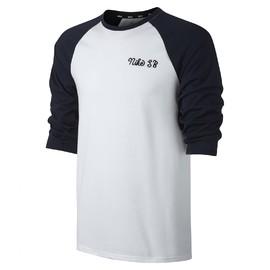Pánské Trička Nike M NK SB DRY CREW 3QT GFX | 860120-100 | Bílá | L